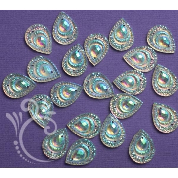 Jewels - Druppel Peacock Wit 20 stuks